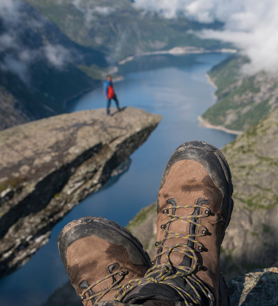 Hiking boots on Trolltunga